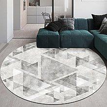 NLGGY Round Area Rug Modern Gray White Geometric