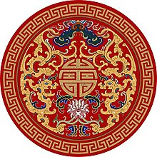 NLGGY Round Area Rug Vintage Chinese Style Non