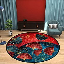 NLGGY Round Carpet Red Blue Chinese Style Area Rug