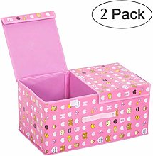 NLIAN- 2 Pack Storage Boxes with Lids and Handles,