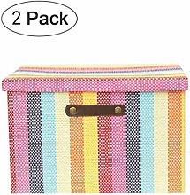 NLIAN- Stripe Storage Box, Collapsible Fabric
