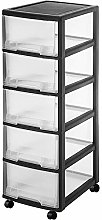 NNDQ Wide 5 Drawer Cart, Rolling Storage Cart,