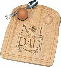 No.1 Dad Golf Breakfast Dippy Egg Cup Board Wooden