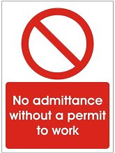 No Admittance without a permit to work 450x600