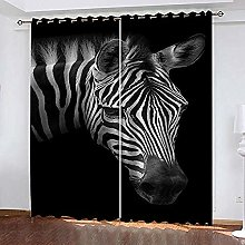 no brand 3D Blackout Curtains Zebra Super Soft