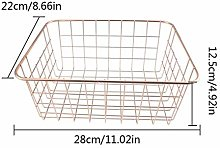 No_brand Style Pink Gold Metal Wire Storage Basket