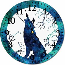 No Branded 10 inch Fashion PVC Wall Clock Wolf -