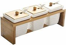 No-branded Square Ceramic Spice Jar Bamboo Kitchen