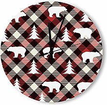 no branded Wooden Clock Buffalo Plaid style1 38 *
