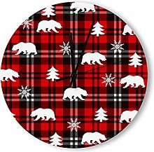 no branded Wooden Clock Buffalo Plaid style10 38 *