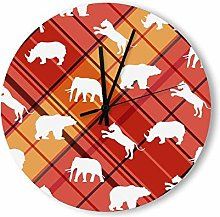 no branded Wooden Clock Buffalo Plaid style11 38 *