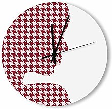 no branded Wooden Clock Buffalo Plaid style14 30 *