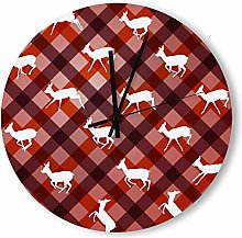 no branded Wooden Clock Buffalo Plaid style15 38 *