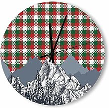 no branded Wooden Clock Buffalo Plaid style2 30 *