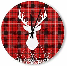 no branded Wooden Clock Buffalo Plaid style5 30 *