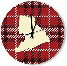no branded Wooden Clock Buffalo Plaid style8 30 *