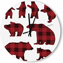 no branded Wooden Clock Buffalo Plaid style9 38 *