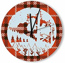 no branded Wooden Clock Checkered Silhouette
