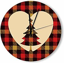 no branded Wooden Clock Plaid Silhouette style4 30