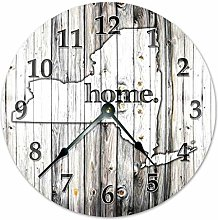 No Brands Classic Wood Clock Round for Living