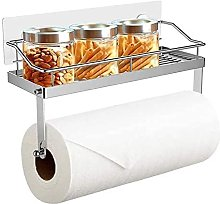 No Drilling Adhesive Paper Towel Holder with Shelf