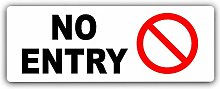 No Entry Sign-White Aluminium Metal-Warning Safety