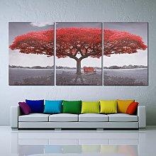 (No Frame) Creative Home Decor Big Red Tree Modern