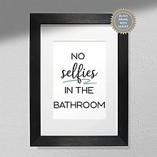No Selfies in Bathroom - Typography Print  