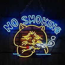 No Smoking Neon Sign Light, Handmade Real Glass