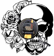 Nobenx Wall clock Tattoo Skull with Rose Wall Art