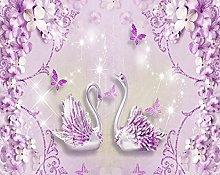 Noble and Gorgeous Purple European Flowers 3D Swan