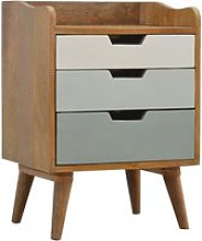 Nobly Wooden Gradient Bedside Cabinet In Green And