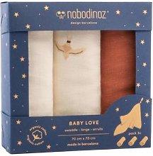Nobodinoz - Box 3 U Baby Love Swaddles In Toffee