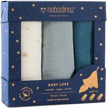 Nobodinoz - Pack of 3 Baby Love Blue and Ecru