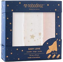 Nobodinoz - Pack of 3 Baby Love Ecru and Pink
