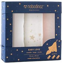 Nobodinoz - Set of 3 Love Swaddles - Pink - pink -