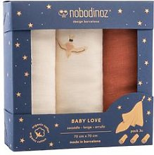 Nobodinoz - Set of 3 Love Swaddles - Toffee -