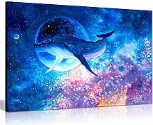NOBRAND Canvas Painting Blue Whale Diving into