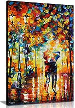NOBRAND Canvas Picture Couple Under One Umbrella
