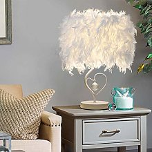 NOBRAND Heart Shape Feather Table Lamp White
