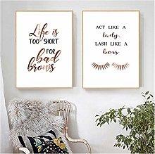 NOBRAND Print On Canvas Funny Eyelashes Quote