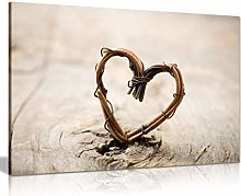 NOBRAND Print On Canvas Rustic Art Willow Heart