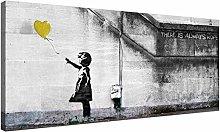 NOBRAND Yellow Canvas Art of Banksy Balloon Girl