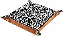 NOBRAND Zebra Print Leather Square Dish Trinket