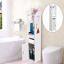 nobrands White Wood Bathroom Cabinet 80x15.5x15CM