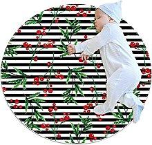 Non-Slip Circle Area Rug Christmas Red Holly Decor