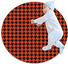 Non-Slip Circle Area Rug Orange Houndstooth