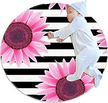 Non-Slip Circle Area Rug Pink Sunflower Black And