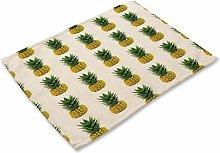 Non-slip Heat-resistant Cotton Linen Placemats 6er