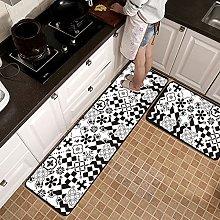 Non Slip Kitchen Mats - 2 Pcs Runner Carpet Gray